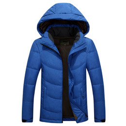 Wholesale men fashion brown dark coats resale online - Classic Brand Men Winter Outdoor white Duck Down Jacket man casual hooded Down Coat outerwear mens warm jackets Parkas M XL