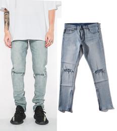 $enCountryForm.capitalKeyWord Canada - 2018 Black icon RETRO DENIM - BLUE men Hole Knife jeans Ripped Destroyed men jeans Hip Hop White stripe stitching Bottom Side zipper Jeans