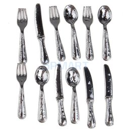 Wholesale Dollhouse Miniature Stainless Steel Tableware Set DM001