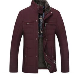 Wholesale male jackets for sale resale online – Winter Jacket For Men Brand Male Stand Fur Collar Business Casual Fleece Thick Warm Parkas Men Cotton Padded Jacket Plus Size Hot Sale