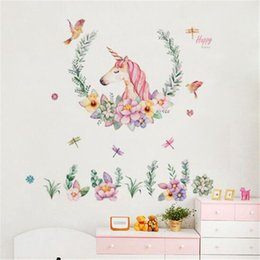 unicorn wall sticker NZ - cartoon unicorn wall sticker baby girl room decor kids bedroom self adhesive wallpaper modern home poster