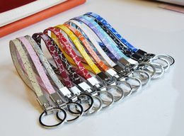 Ring Slides Australia - 10PCs 8MM Mixed Color Stone Pattern PU Leather Key Chains With Rings Finding Jewelry Fit 8mm Slide Charms