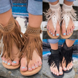 Flip Clips NZ - women shoes Flat Heel Tassels Clip Toe Hollow Out Roman Ankle Sandals Flip Flops flat Heels Beach Shoes