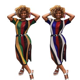 dee6c7f28e7 2018 Sexy Side Split Colour Striped Casual Women Dress Short Sleeve Loose  Dresses Summer Style Mini Dresses Night Club Clothes S-XL