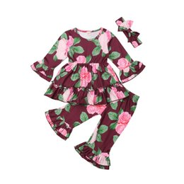 0569678b18f4a 2018 Multitrust Brand Baby Kids Girls Clothes Long Sleeve Flare Blouse  Ruffle Pants Headband 3Pcs Outfit Autumn Spring Set