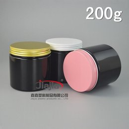 Plastic Pink Containers Australia - 200g PET Can Food storage 200ml Plastic Food Container Cream black Jar Bottle Packaging with pink white gold aluminum cover