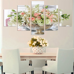 Pink Decorative Paintings Australia - free shipping Modern Decorative Pink Light green white rose Flowers bones Wall Pictures for Living Room Wall On Canvas painting 5 Panels