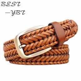 $enCountryForm.capitalKeyWord Australia - 2016 New Belt Man Fashion Mens belts luxury genuine leather Brown braided Real Cow skin straps men Jeans Wide girdle Male