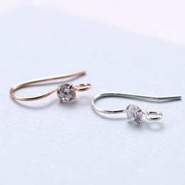 925 silver wire earrings 2019 - 925 Solid Sterling Silver Fashion Jewelry Earrings CZ Ear Wire French Hook Connector DIY A1652 cheap 925 silver wire ear