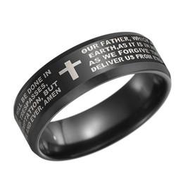d3fb805b8a7d8c 8 мм черный мужской из нержавеющей стали Библия палец кольца стих  христианского Господа молитва крест кольцо обручальные кольца лазерная  гравировка