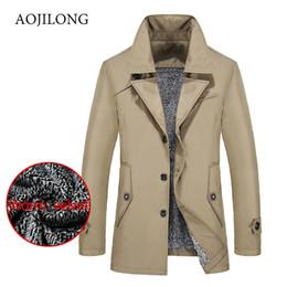 Discount russian parka - Winter Men Trench Coat Warm Russian Fur parka jacket For Men Slim Fit Casual Trench Coat Pure Cotton Long Coats Large Si