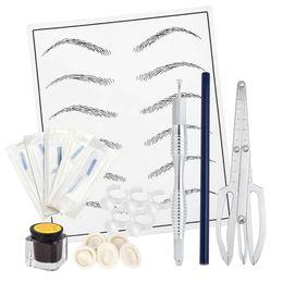 Ögonbryn tatuering kit microblading 14 Pins nålar penna tatuering pigment övning hud för manuell semi permanent smink