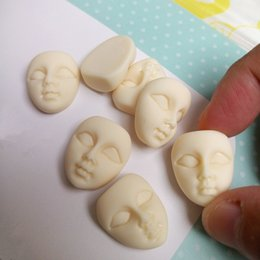 China ecoration Crafts Figurines Miniatures Tanduzi 10pcs Mini Masks Flatback Resin Cabochons Cute Girl Beige Face Flatback Scrapbooking Hair B... cheap music hair suppliers