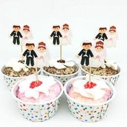 Engagement Party Cupcake Toppers Australia - 24pcs Wedding Cupcake Toppers Groom & Bride Cake Toppers Wedding Party Decoration Mariage Engagement Cake Decor Supplies Favors
