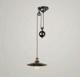 Industrial Kitchen Lighting Pulleys Australia - Loft Vintage Retro Wrought Iron Black Chandelier Adjustable Pulley Industrial Lamps E27 Edison Pendant 2Lamp Home Light Fixtures