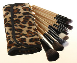 Leopard Eyeshadow UK - 12Pcs set Leopard Makeup Brushes Cosmetics Foundation Blush Eyeshadow Brushes Kit Girls Women Facial Care Beauty Tools with Bag Case