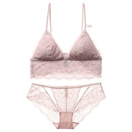 French Panties UK - French floral lace bralette sexy transparent panties thin cup with pad intimates women comfortable sleepwear small underwear set