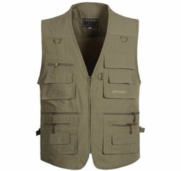 Chinese  Spring and autumn men waistcoat Multi-pocket colete photography vest keep warm large size manufacturers