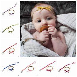 Chupeta do bebê Cadeia Clipe Criança Chupeta Titular Chupeta De Couro Trançado Infantil Clips Arco Headbands 2 Pcs 16 Cores de Alimentação Do Bebê YL137