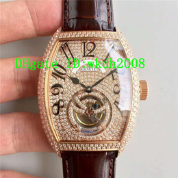 Mens Watches Brown Strap NZ - Luxury Brand Tonneau Rose Gold Full Diamond Dial Automatic Mens Watch Brown Big Tourbillon Alligator Leather Strap Best Quality