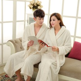 long thick robes Canada - On Sale Men Full Sleeve Long Kimono Bathrobe Thick Thermal Bath Robe Male Dressing Gown Coral Fleece Robes Mens Lounge Nightwear