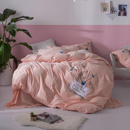 Butterfly sheet set queen size online shopping - luxury bedding set queen size Tc washed cotton duvet cover pink butterfly embroidered kids bed set home decor bed sheet