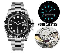 Venta al por mayor de Nuevo n V9 Best Edition Swiss Cal.3135 ETA 3135 Movimiento automático Cerámica negra Bisel Dial negro Reloj para hombre Azul luminoso 904L Acero Rx5a1
