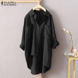 Discount plus size button down blouses - ZANZEA Women Turn Down Collar Buttons Blouse 2018 Autumn Long Sleeve Irregular Hem Casual Shirt Work White Top Blusas Pl