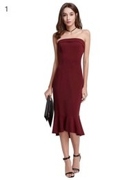 8ca524a61f82 Vendita calda mai abbastanza eleganti abiti da sera bordeaux tè-lunghezza  Split semplice design donne abiti da sera formale
