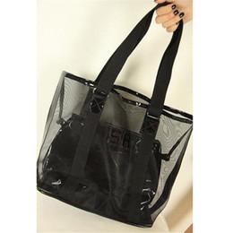 82b4439b4a1d gauze High-capacity Beach Bag Women Transparent Handbag Jelly Crystal Bag  Letter Large Bucket Summer Waterproof Shouder Bags