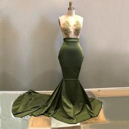 Wholesale girls sleeveless t shirt sexy resale online - 2018 Sexy Long Prom Dresses Deep V Neck Sleeveless Lace Satin Floor Length Black Girl Dresses Mermaid African Evening Dresses