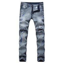 $enCountryForm.capitalKeyWord Canada - High-quality Style Men Slim Jeans famous brand mens jeans luxury men denim trousers Slim Straight Patchwork blue hole jeans pants size28-42