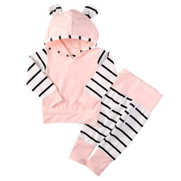 cute hoodie sweatshirts UK - 2pcs Baby Set Cute Infant Baby Girls Clothes Autumn Long Sleeve Striped Hoodie Sweatshirt+Cotton Long Pants 2pcs Baby Outfit Set