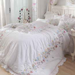 4 7 Pieces Elegant Embroidery Duvet Cover Flat Bed Sheets +Pillowcase Super  King Queen Size Cotton Yard Bedding Set