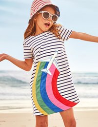 online shopping Girls Casual Short Sleeved Striped T shirt Dress Cute Summer Cotton Dress with Animal Appliques Baby Girl Clothes