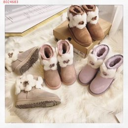 studded winter boots 2019 - Women Fluffy ankle boots luxury brand women casual shoes girls top quality women sneakers studded flower decoration snow