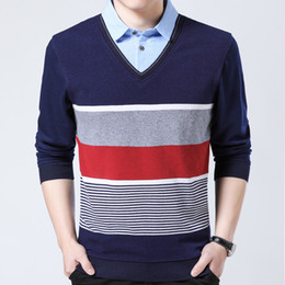 fake branded clothing 2019 - 2018 hot brand striped shirt men clothes thick fashion long sleeve shirts s mens fake two pieces jersey shirt 6122 cheap