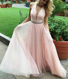 Wholesale ZYLLGF Baby Blue Halter Neck Tulle Prom Dresses A Line Beaded Floor Length Sexy Backless Prom Party Dresses Formal Gown
