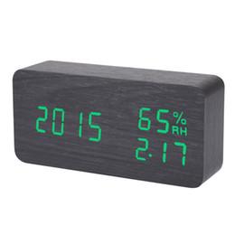 $enCountryForm.capitalKeyWord UK - Digital LED Alarm Clock Sound Voice Control Light Digital LED Time Humidity Display Wooden Alarm Clock Electronic Clocks Desk