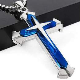 wholesale chain crosses NZ - Fashion Women Men Stainless Steel Cross Pendants Necklace Chain Titanium Religious Jewelry Latin Christmas Punk Classic Gift Accessories