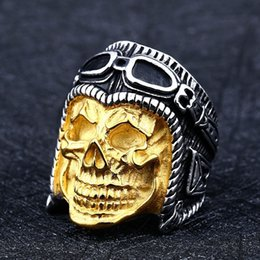 Wholesale cast band online – design Dropshipping High Quality Pilot Carving Skull Ring for Men New Cool Gold Color Biker Casting Stainless Steel Rings for Men Jewelry