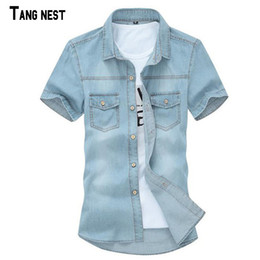 Korean style men s shirts online shopping - Solid Men S Solid Short Sleeved Shirt Male Casual Comfortable Korean Style Turn Down Collar Denim Shirts Casual Shirts