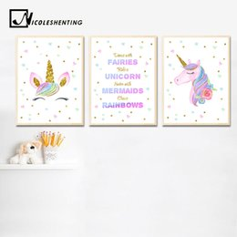$enCountryForm.capitalKeyWord NZ - Watercolor Unicorn Baby Nursery Wall Art Canvas Poster and Print Painting Nordic Kids Decoration Picture Children Bedroom Decor