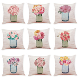 Knitted car pattern online shopping - Perfume Vase Pattern Pillow Case Cotton Linen Soft Car Sofa Square Cushion Cover Bedding Supplies Creative Home Decor No Core hy bb