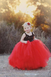 Discount same day custom t shirts Cute Black Applique and Red Tulle Ball Gown Flower Girls Dresses with Spaghetti Straps first cummunion Pageant Princess