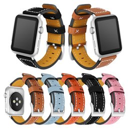 Discount wrist watch leather strap replacement - NEW 42mm 38mm Genuine Leather Watch Bands Wrist Straps Smart Watchband with Metal Clasp Buckle for Apple iWatch Series 1