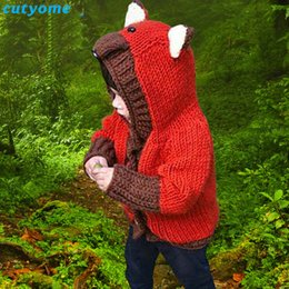 $enCountryForm.capitalKeyWord Australia - Newborn Toddler Fox Hooded Sweater For Boys Girls Knit Cotton Cardigan Clothes For Kids Baby Cotton Cardigan Infantil Boy Girl