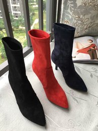 $enCountryForm.capitalKeyWord NZ - Autumn Winter Women Ankle Boots high heels suede leather booties black red point toe party shoes new motorcycle bota