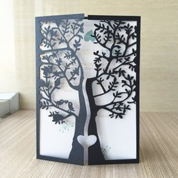 invitation pearl buckles Australia - 50pcs Laser Cut 250gsm Pearl Paper Christening & Baptism Greeting Blessing card tree with bird Design Wedding Invitation Cards