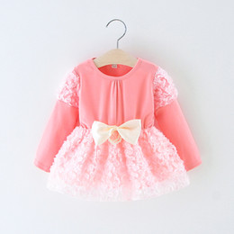 $enCountryForm.capitalKeyWord NZ - Princess baby girls dress long sleeve children lace mesh tutu skirts girl's dresses with big bow kids clothing